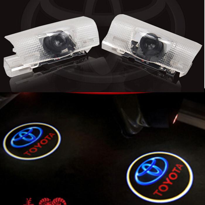 2X LED door step welcome courtesy laser projector Logo Shadow light lamp for TOYOTA Land Cruiser Prado Camry Carolla reiz RAV4(China (Mainland))