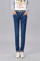 2015 Trendy Women Harem Pants Cotton Jeans Loose Slim Winter Warm Drawstring Plus Heavyweight Ladies Trousers ej853663
