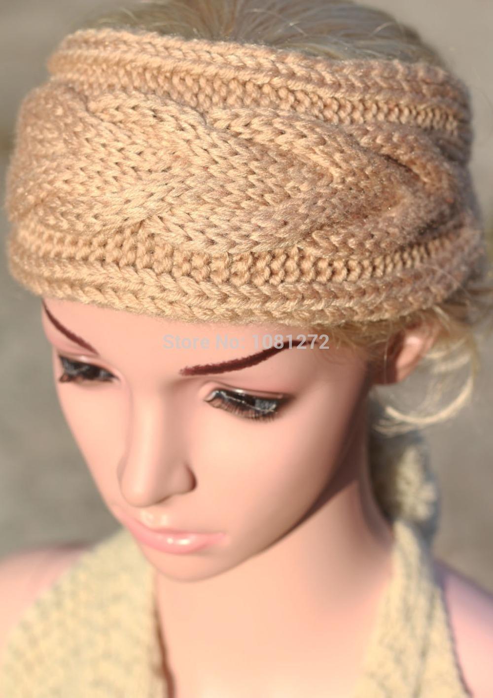(6pieces/lot) Wholesale Khaki Knit Headband,Cute Turban Headband,Earwarmer Head wrap Fall and winter hair accessory(China (Mainland))