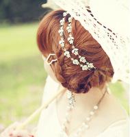 Lovely Rhinestone Flowers Hairband Silver Headband Weeding Hair Jewelry for Women  BJH8095