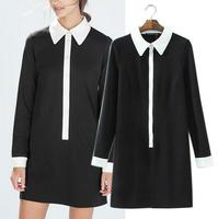 Women Summer Dress 2015 Vestidos Long Sleeve Brief Casual Dress Vintage Elegant Black White Contrast Color Brand Party Dresses