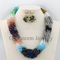 Shinny Multicolor Nigerian Wedding Crystal Jewelry Set Dubai African Jewelry Sets 18K Hot Free Shipping GS958