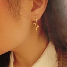2014 fashion unique trendy vintage designer sterling silver golden tree branches lovely bird ear stud earrings