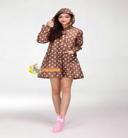 Free Shipping Korean woman Womens Waterproof Outdoor Outerwear Hooded Cover Rain Coat Dot Pockets Knee Length Raincoat BZ676322