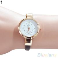 Women's Rhinestone Faux Leather Super Thin Strap Quartz Analog Dress Wrist Watch
