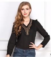 Free shipping Hitz 2015 Y-shirt V-neck long-sleeved solid color T-shirt fashion retro copper chiffon shirt S-XXL