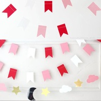 3sets/Lot 2M Beautifull Photo Booth Wedding Props Decorative Flags And Banners Wedding Paper Garland Photo Booth Backdrop