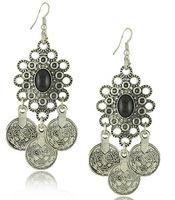 Vintage Antique Silver Coin Dangle Earrings Faux Stone Drop Earrings New Statement Jewelry BJN97613