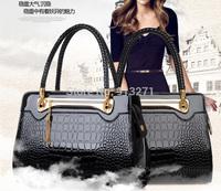 European Star Fashion Handbags Black Tote Bag Women Alligator Leather Messenger Bags Tassel Rivet Waterproof 2015 New High Qlty
