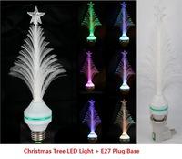 1 Set E27 Multi Colors RGB Changing Christmas Tree Shape LED Light Lights + Lamp Plug Base,Home Festival Decoration Lighting