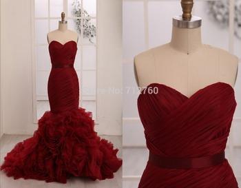 Элегантный новый без бретелек длиной до пола , красный русалка свадебные платья платья для особых случаев