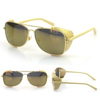 New excellent quality metal flat top square Sunglasses men brand Gold sun lenses eyewear driving goggles UV400 sunnies women CE