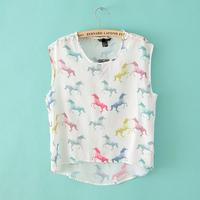 Women Fashion Blusas Femininas Colored Horse Print Sleeveless Chiffon Blouse Shirt Ladies Brand Design Tops Casual Woman Clothes