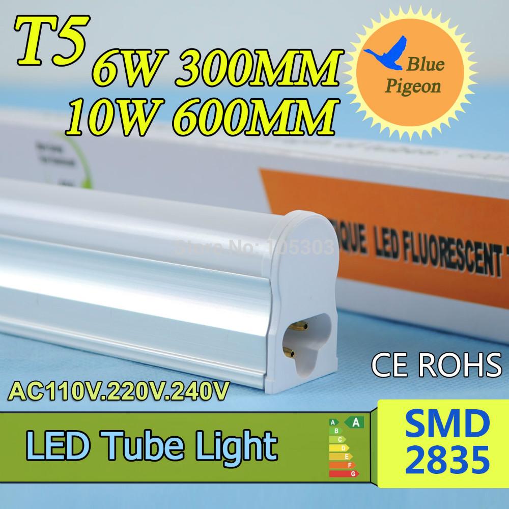 LED Lamp T5 LED Tube Light 300mm 6W / 600mm 10W LED Light AC110V 220V 240V Epistar SMD 2835 CE & ROSH Warm White Cold White(China (Mainland))