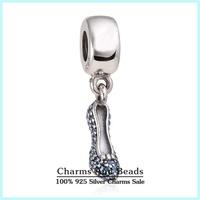 2015 New 925 Sterling Silver Pave Blue CZ Sparkling Slipper Charms Fits Brand Bracelets High Heel Shoe Charm Pendants Er467