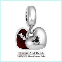 2015 New 925 Sterling Silver Red Enamel Mickey & Minnie Heart Dangle Charms Pendants For Women Fits Famous Brand Bracelets Er470