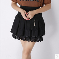 2015 New Fashion Autumn Winter Female Woolen Short Skirt Elastic waist A-line Flouncing Lap Ladies Female Pleated Black Skirts