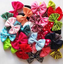 10 unids/lote nuevo 2 '' caramelo Color sólido / punto / leopardo imprimir arco horquilla pelo Clips para bebe niñas niños accesorios para el pelo(China (Mainland))