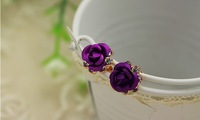 beautiful blue and purple flower stud earrings for women , Simulated diamond brand earring,18K gold plated jewelry