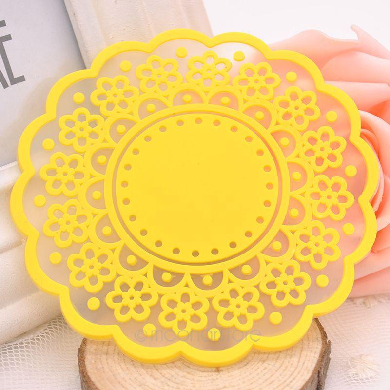 Hot Sale Useful Lace Cup Mat Insulation Mat Heatproof Cup Mat Bowl Pad Coaster Hollow Out Design Random Color JL*JJ0110*50(China (Mainland))