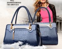 2015 Fashion Designer Handbags Women Tote Bag Leather Bags Blue Crocodile Pattern Braided Handle Lock Tassel Waterproof Gift New