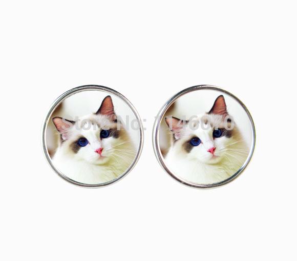 fashion cute cat stud earrings silver plated animal earring charm statement earrings jewelry for women bijoux earrings wholesale(China (Mainland))