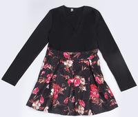 New Women's Clothing 2015 Women White Print Patchwork Black Cute Vestidos Dress V Neck Print Printed Long Sleeve Sexy Dress
