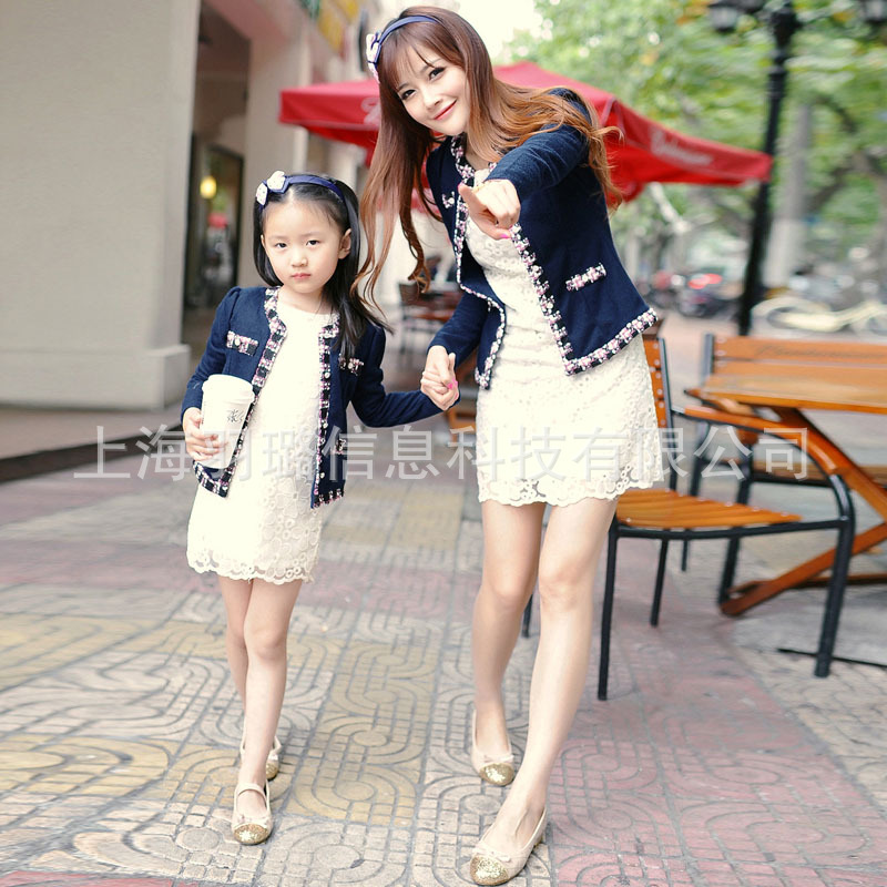 Fashion parent-child outfit clothes mother daughter knitt children girl jacket spring autumn jean denim coat blue(China (Mainland))