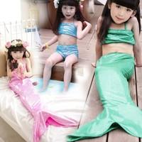 Children's Swimwear Summer Mermaid Split Set Of Three Cute Girls Swim wear Children's Clothing New 2015