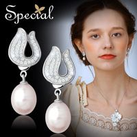 Special Winter New Arrival Fashion Style Earrings S925 Silver Natural Pearls Free Shipping Gifts For Women Girls ED150116