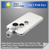 Free Shipping  clip 3 in 1 Clip-On Fish Eye Lens Wide Angle Macro mobile phone Lens For Phone iPhone 4 4s 5 Samsung HTC