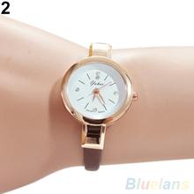 Women s Rhinestone Faux Leather Super Thin Strap Quartz Analog Dress Wrist Watch 2CXU