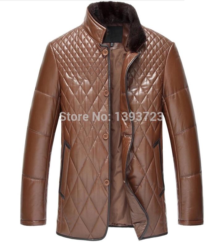 New 2015 Leather coats male Mink collar sheep leather jacket Men's haining leather coat New Phoenix(China (Mainland))