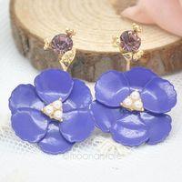 Flower Pearl Stud Earring Lady Girls Jewelry Earrings for Women 18k Gold Plated Earring Crystal Rhinestone Earring Y55*SS0019#S7