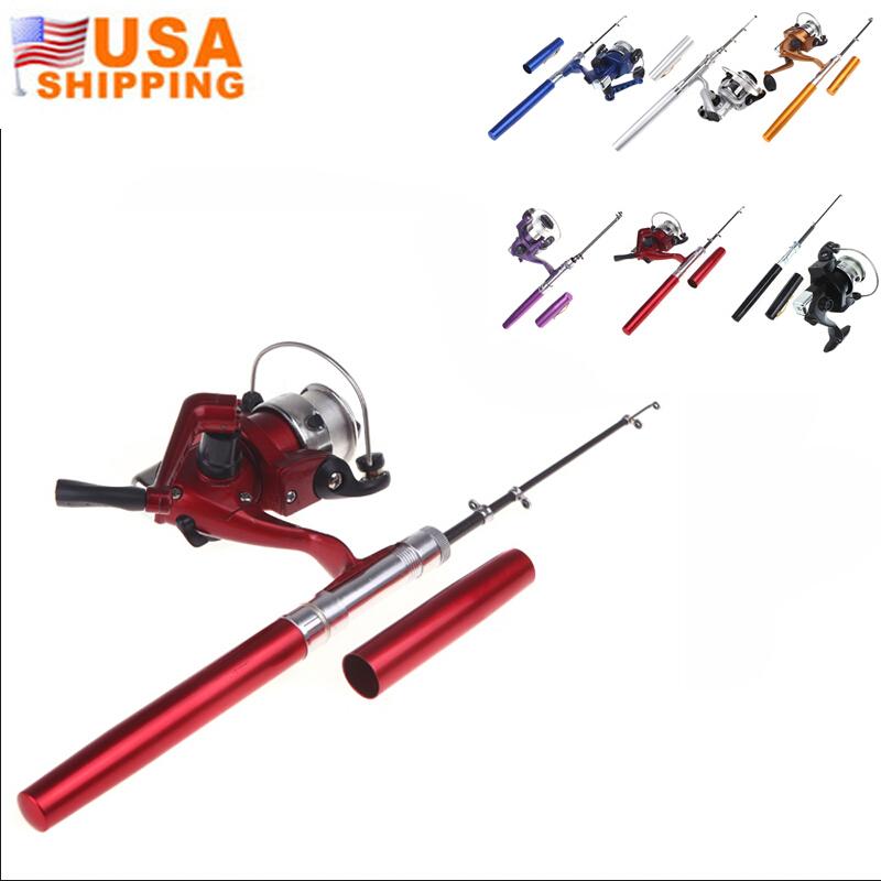 US Stock to USA Mini Pocket Pen Shape Aluminum Alloy Fishing Rod Portable Baitcasting Rods Pole + Fishing Reel Set Combos Pesca(China (Mainland))