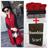 2014 Newest Famous   Scarf for women Fashion Winter   silk Scarves & Wraps Warm Cashmere Fringe scarf  with handbag 30*180cm