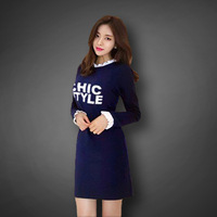 Fashion New 2015 Autumn Winter Print Letter Casual Tops Plus Size Butterfly Long Sleeves Women's Sexy Dress Female Vestidos