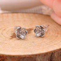 2015 Women Lady Ear Studs Earrings 925 Sterling Silver Jewelry Earrings Elegant Cherry Flower Stud Earring brincos Y55*SS0011#S7