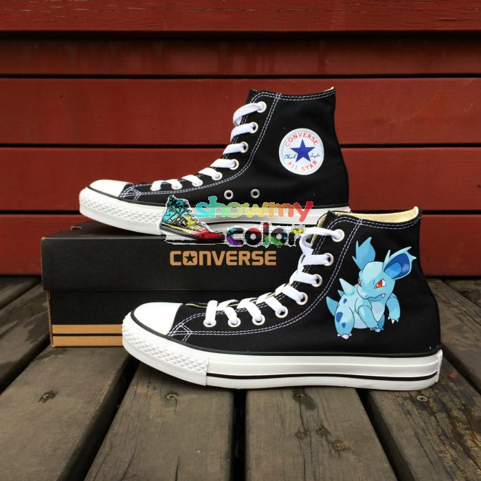 Pokemon Converse Shoes Kids Black Hand Painted Nidorina High Top Canvas All Star Sneaker(China (Mainland))