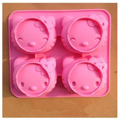 Grátis frete Hellokitty forma de calor 3D Silicone moldes Jelly Ice moldes dos doces do bolo do molde Bakeware urso Cookie cutter(China (Mainland))