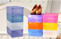 Strong Stackable Women Men Shoe Box Colored Plastic Shoes Storage Box Shoe Organizer 6pcs/lot Freeshipping