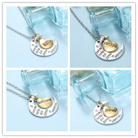 "Fashion  HandStamped Necklace Necklace "" I Love You To The Moon And Back ""Charms mom dad daughter sister Pendants New Year Gifts"