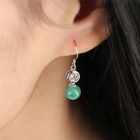 925 Sterling Silver with Jade Earrings, 6mm, Oriental characteristics Women Accessories Earrings SE0017