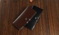 Fashion Solid Leather Men Wallet Long Hasp Male Business Clutch Purse For Monery Credit high quality Card Free shipping 3019