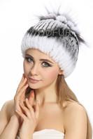 Winter Handmade Genuine Stripe Rex Rabbit Fur Beanies Caps Women Fur Elegent Hats QD80241