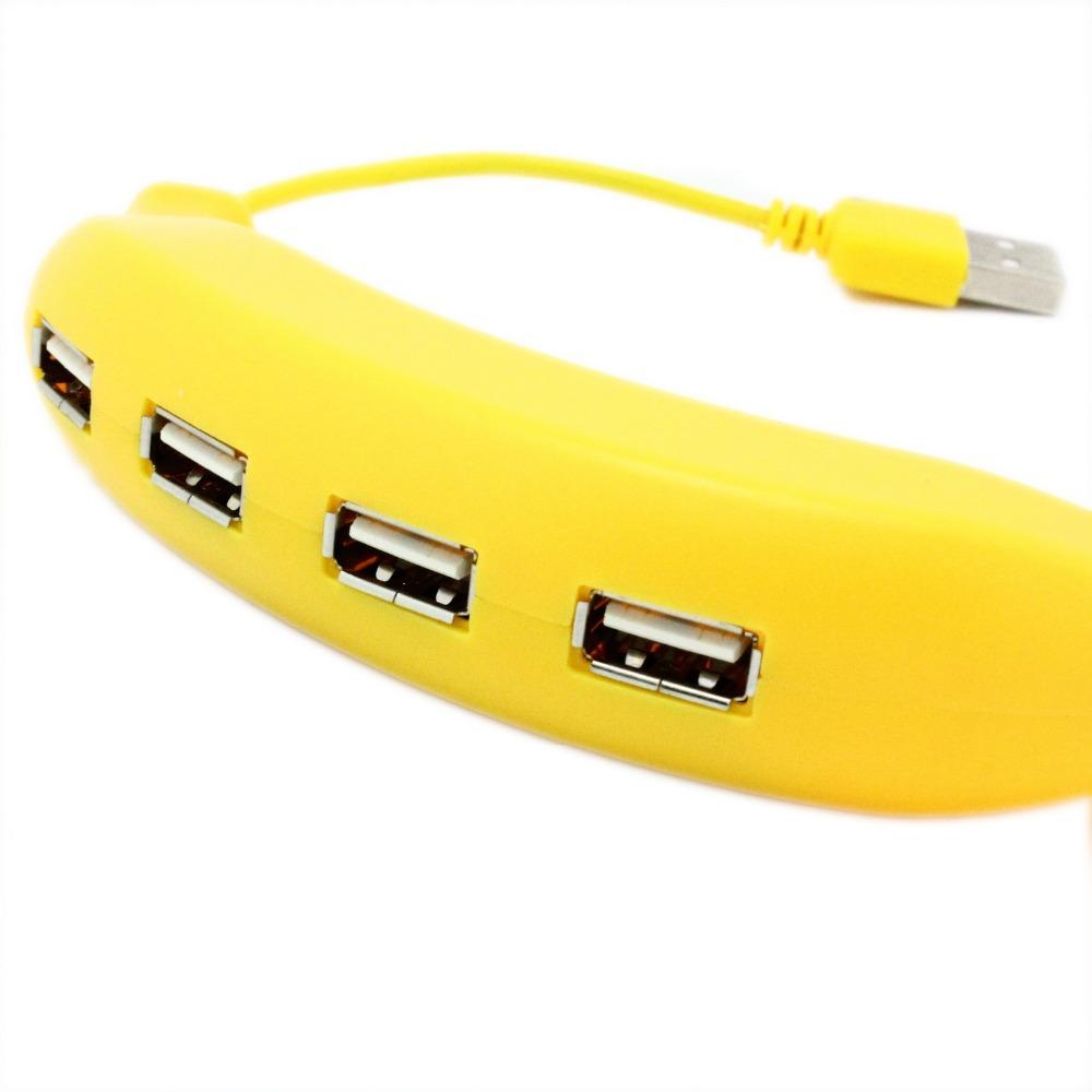 Banana design USB 2.0 Hi-Speed 4-Port Splitter Hub Adapter For PC Computer Notebook(China (Mainland))