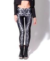 LuckDy New arrival leggings for women 2014 fashion Mechanical Bones Black Leggings digital print skull leggings HOT