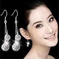 Newest Austrian Crystal Zircon Spherical Pendant Long Earrings Luxury 925 Sterling Silver Snake Chain Tassel Dangle Earring