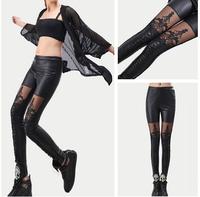 Black Punk Leggins Women Leggings Leginsi Lacina Calca Patterned Floral Bandage Cool Girl Pants