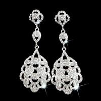 Luxury Flower Silver Clear Crystal Diamante Vintage Style Chandelier Long Drop Dangle Earrings Bridal Wedding Jewelry LE1019
